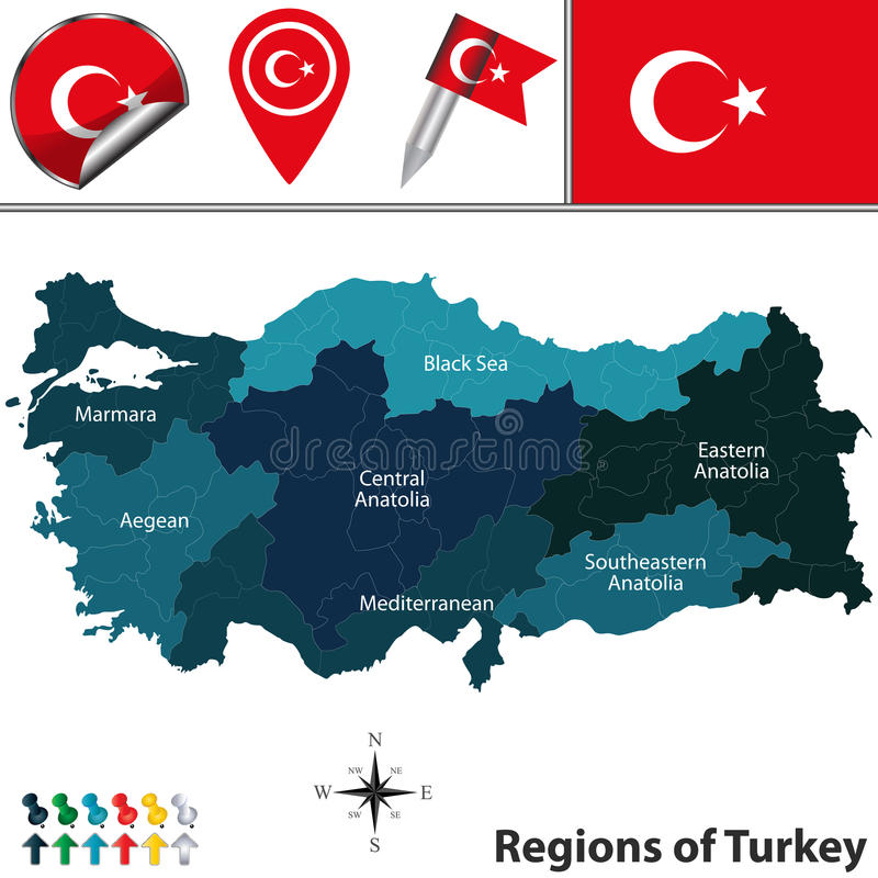 Map of turkey with regions stock vector illustration of country vector map of turkey with named regions and travel icons gumiabroncs