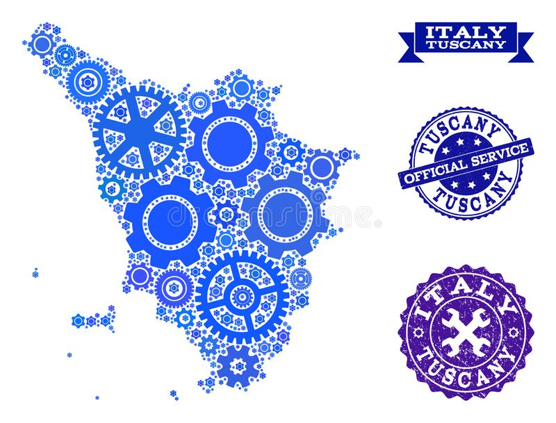 Mosaic Map of Tuscany Region with Gears and Rubber Stamps for Services stock illustration