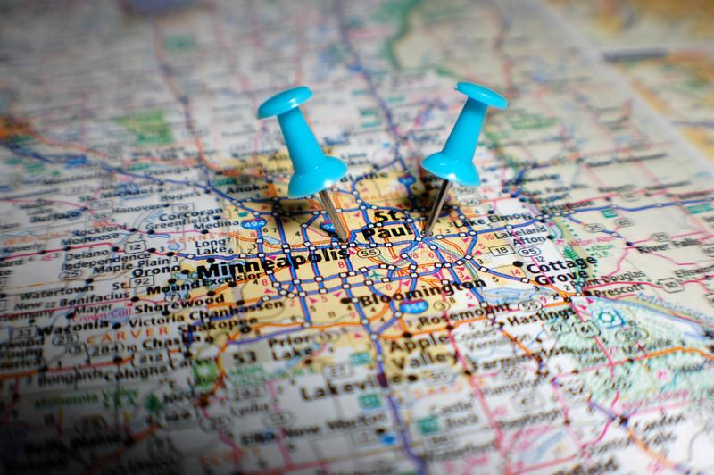 Twin Cities. A map of the Twin Cities marked with a push pin stock photos