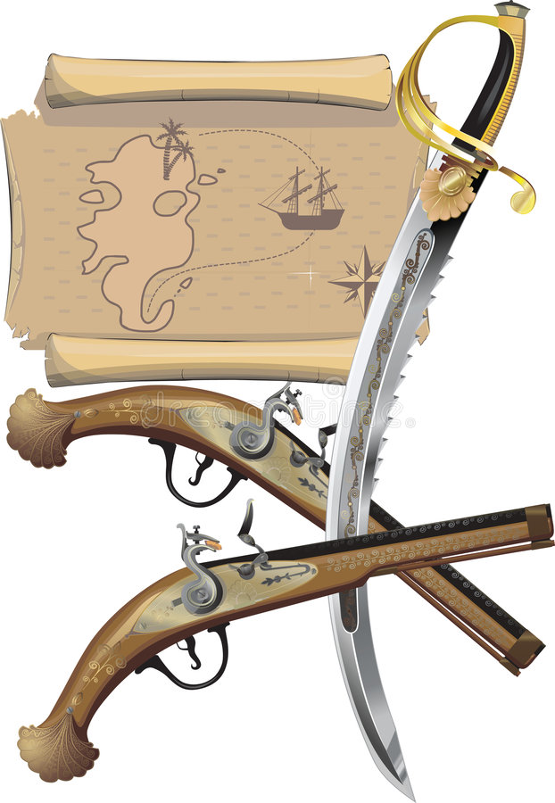 Download Map, Two Pistols, And Pirate Sword Royalty Free Stock Photo - Image: 7961395