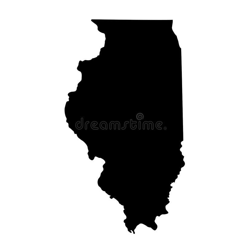 Map of the U.S. state Illinois stock illustration