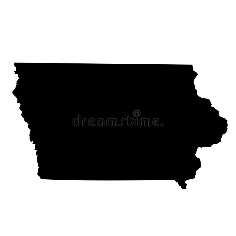 Map of the U.S. state Iowa stock illustration