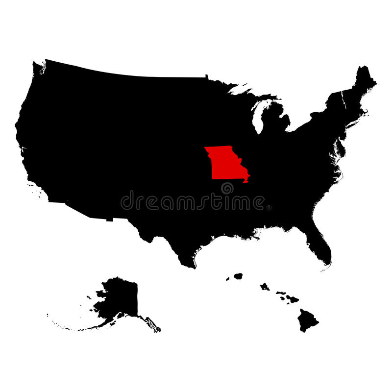Map of the U.S. state Missouri vector illustration. Map of the U.S. state of Missouri vector illustration royalty free illustration