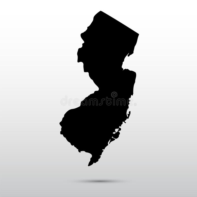 Map of the U.S. state of New Jersey. stock illustration