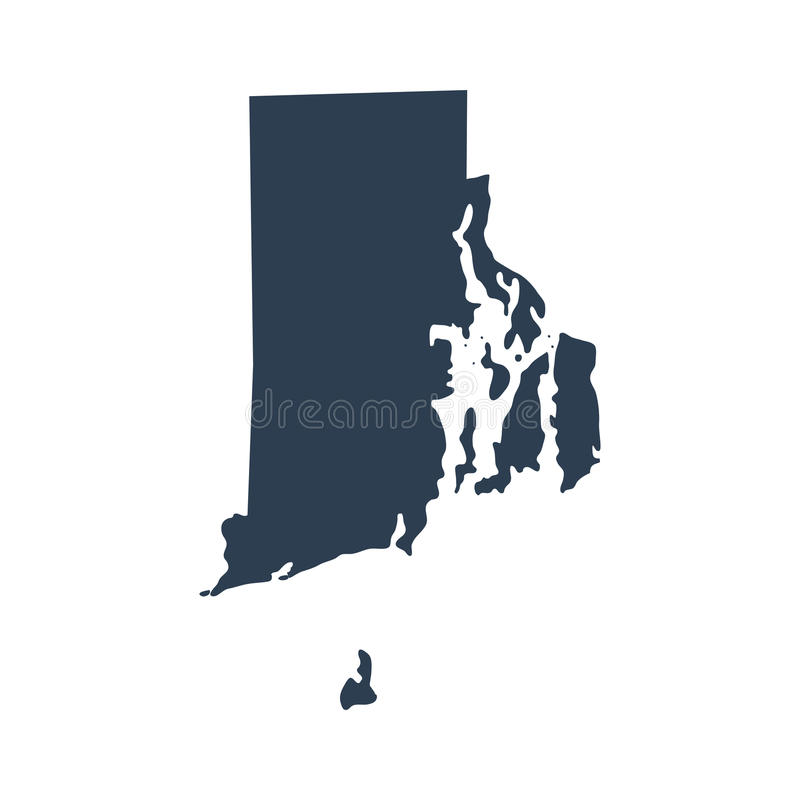 Map of the U.S. state Rhode Island stock illustration