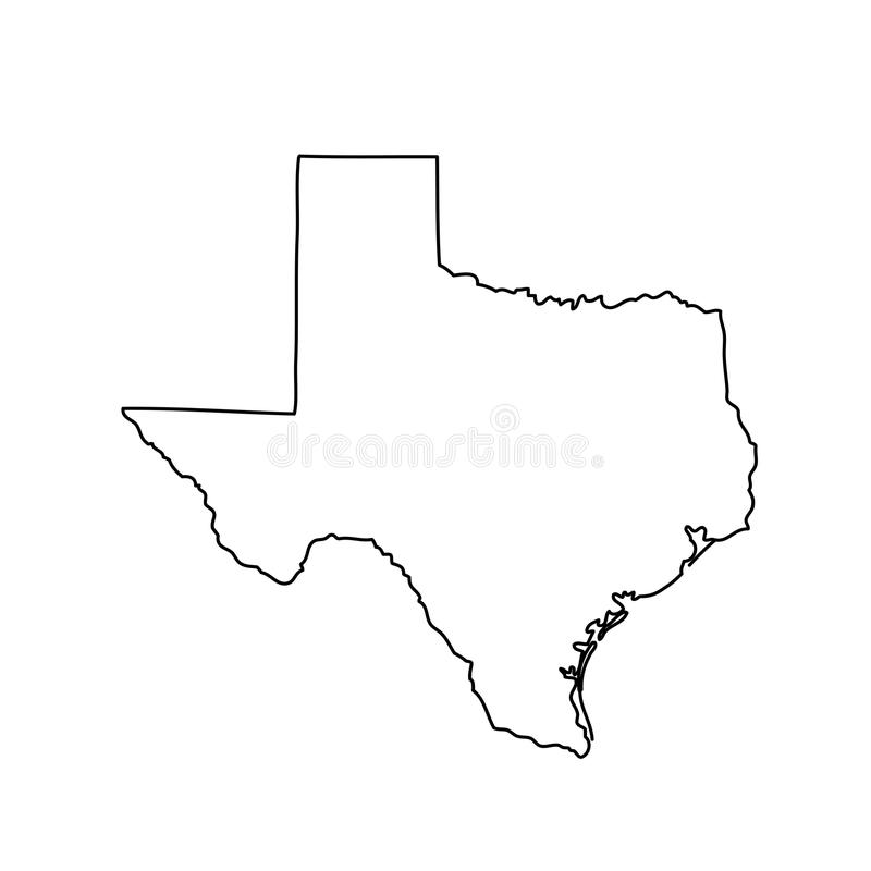 Map of the U.S. state of Texas. Vector illustration royalty free illustration