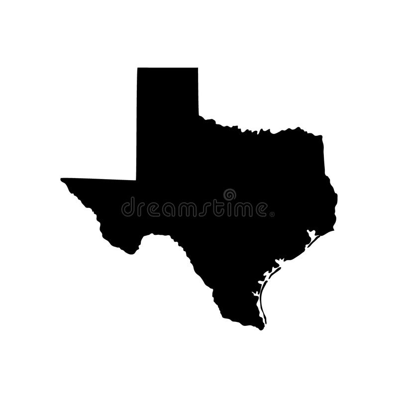 Map of the U.S. state of Texas. On white background royalty free illustration
