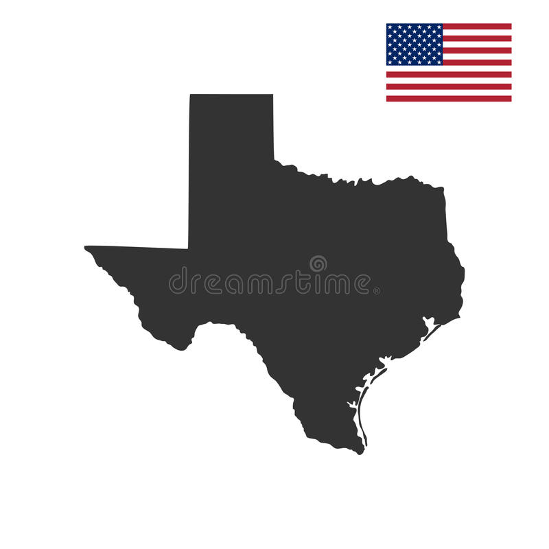 Map of the U.S. state of Texas. On a white background vector illustration