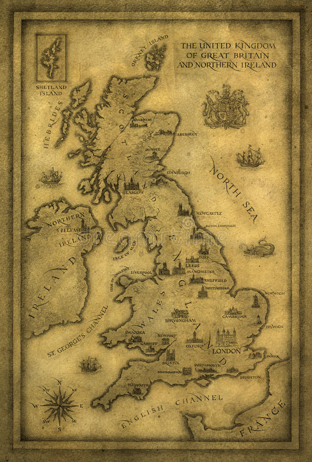 Download Map of UK stock illustration. Illustration of isle, direction - 21844724