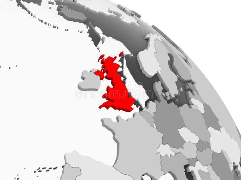 Map of United Kingdom. 3D render of United Kingdom in red on grey political globe with transparent oceans. 3D illustration royalty free illustration