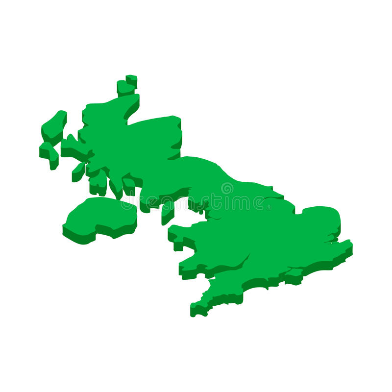 Map of United Kingdom icon, in isometric 3d style vector illustration