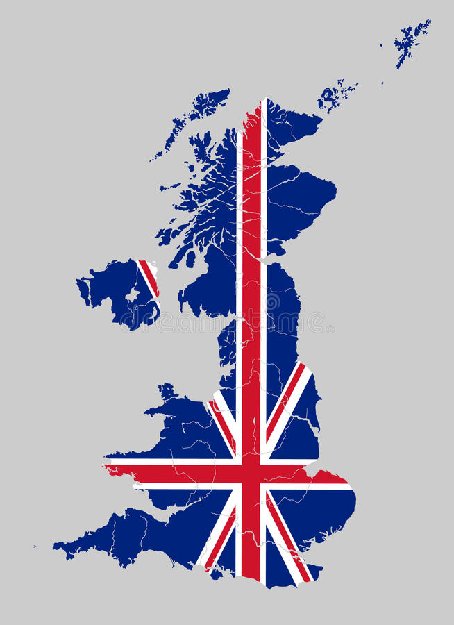 Map of the United Kingdom with rivers on British flag. royalty free illustration