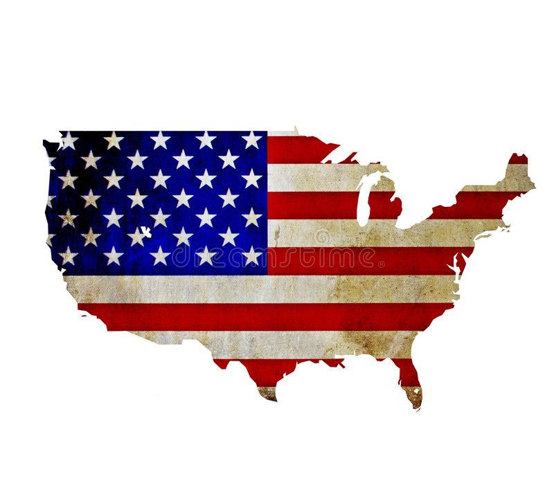 Map of United States of America isolated stock photo