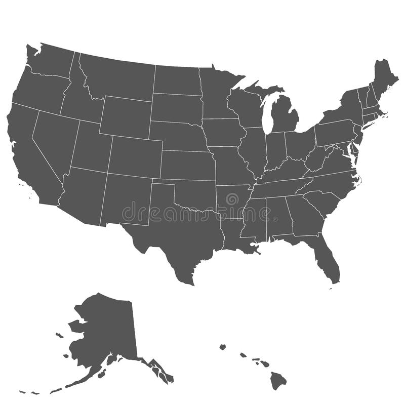 Map of the United States of America stock illustration