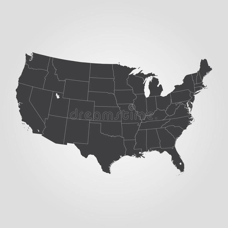 Map of the United States of America. royalty free illustration
