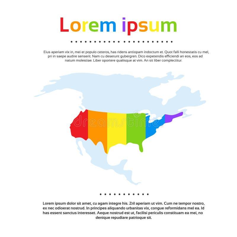 Map United States of America Rainbow Colorful stock illustration