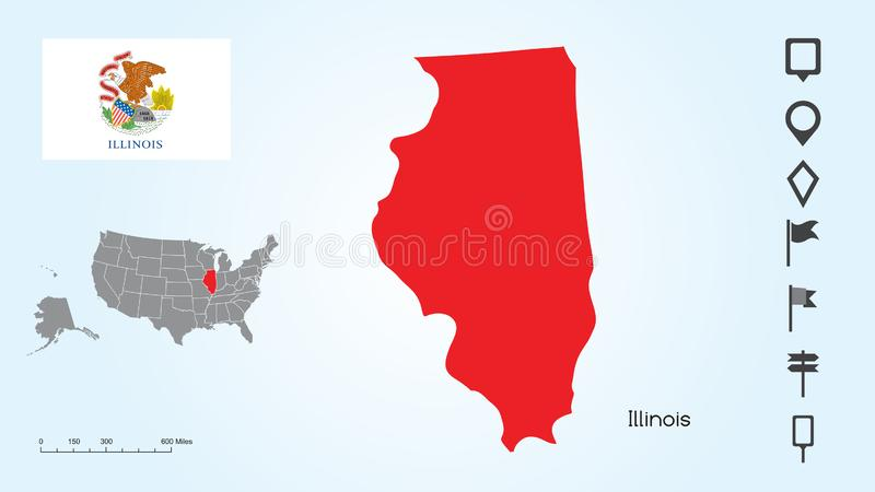 Map of The United States with the Selected State of Illinois And Illinois Flag with Locator Collection stock illustration