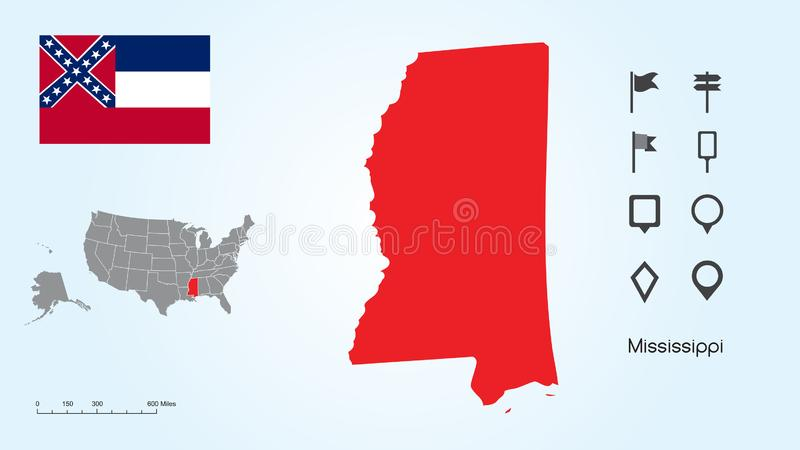 Map of The United States with the Selected State of Mississippi And Mississippi Flag with Locator Collection vector illustration