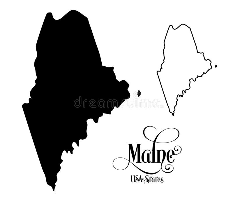 Map of The United States of America USA State of Maine - Illustration on White Background stock illustration