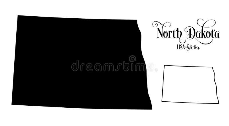 Map of The United States of America USA State of North Dakota - Illustration on White Background stock illustration