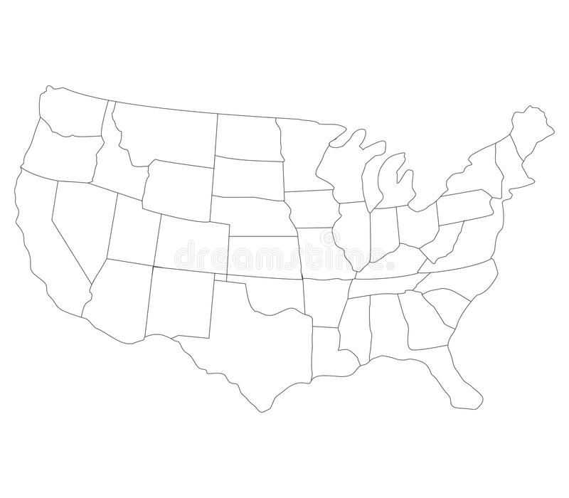 Map of the united states illustrated with flag stock image