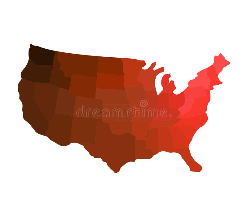 Map of the united states illustrated with flag stock images