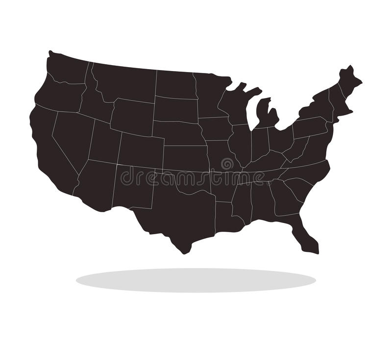 Map of the united states illustrated with flag stock photos