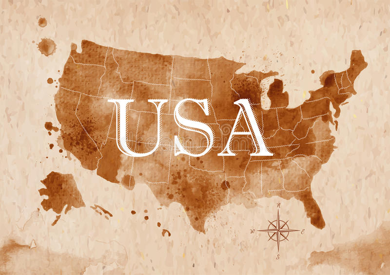 Map United States retro stock illustration