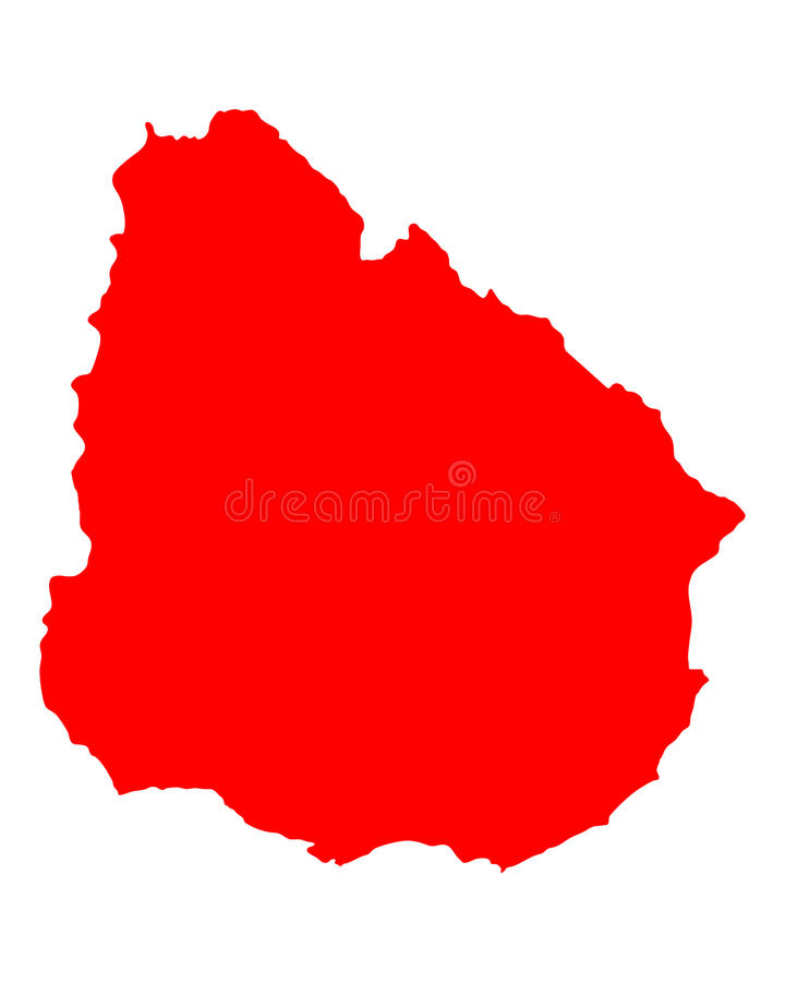 Map of Uruguay. Detailed and accurate illustration of map of Uruguay stock illustration
