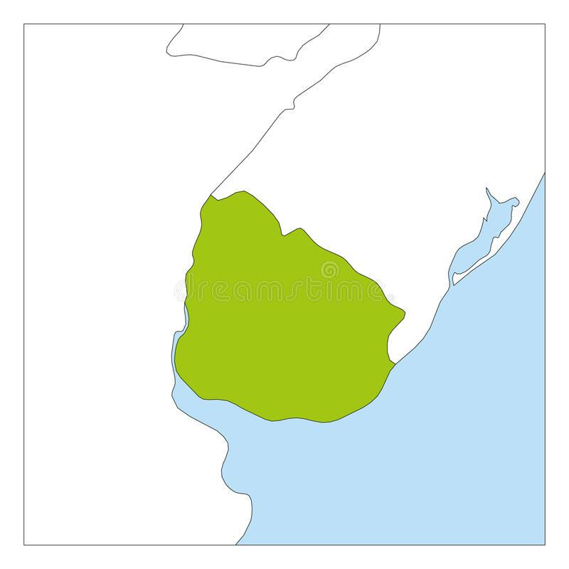 Map of Uruguay green highlighted with neighbor countries vector illustration