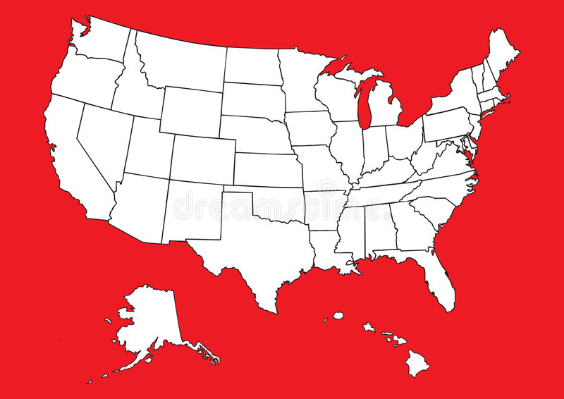 Map of US with flag royalty free illustration