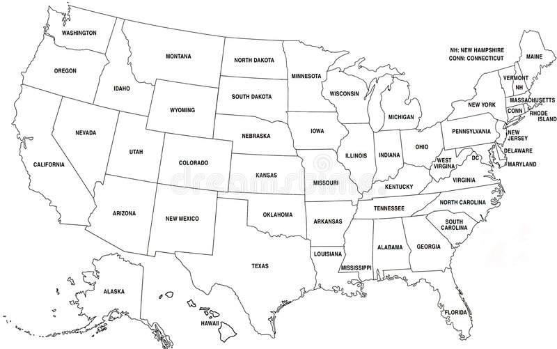 Map of USA royalty free stock photography