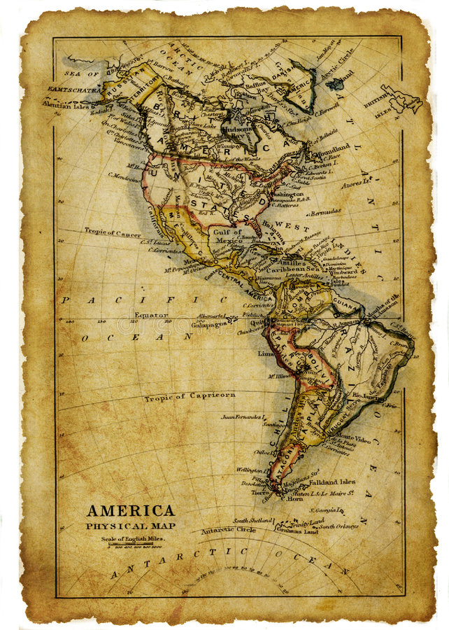 Map of USA. Tattered ancient map of USA