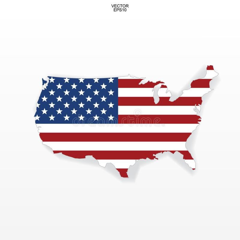 Map of the USA with american flag pattern. Outline of `United States of America` map on white background. stock illustration