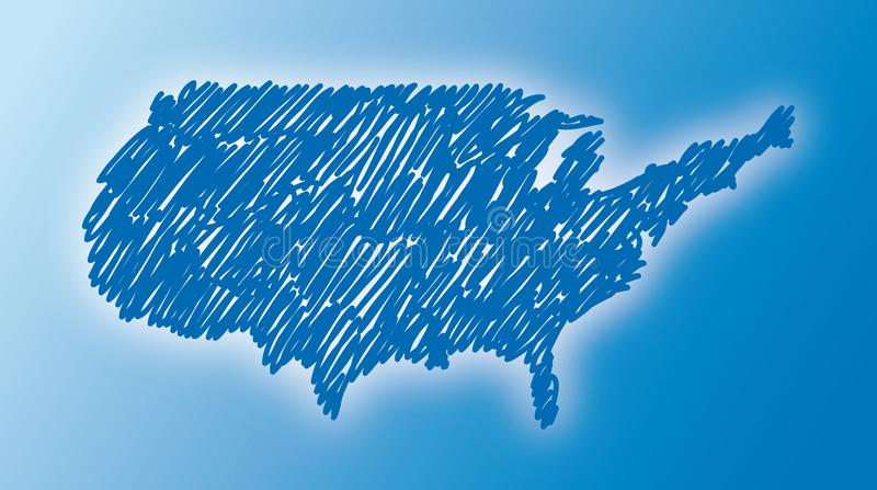 Map of the USA drawn freehand royalty free stock image