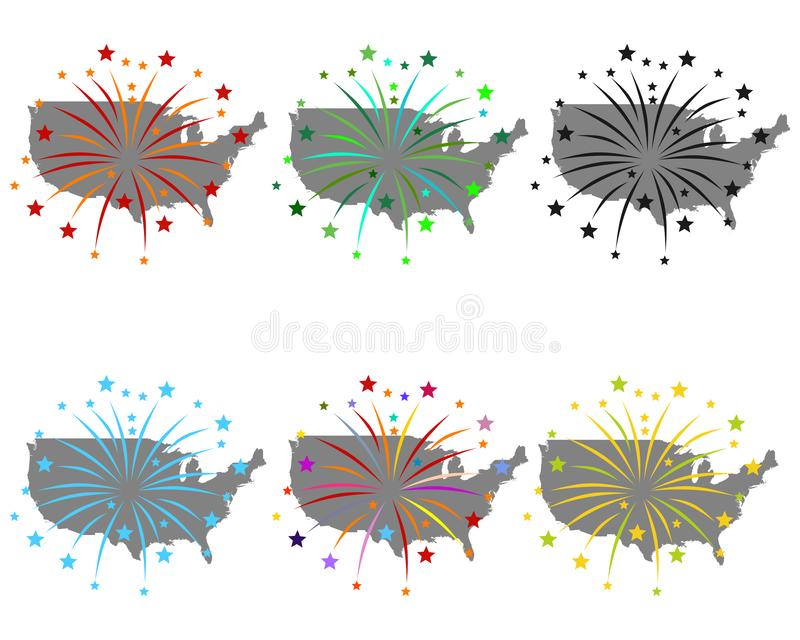Map of USA with fireworks. Detailed and accurate illustration of map of USA with fireworks royalty free illustration