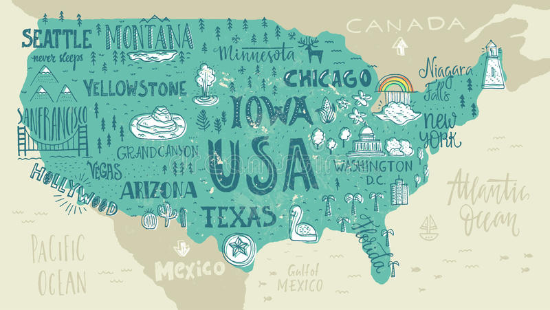 Map of USA. Handdrawn illustration of USA map with hand lettering names of states and tourist attractions. Travel to USA concept. American symbols on the map vector illustration