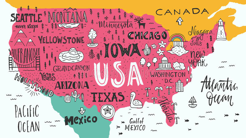 Map of USA. Handdrawn illustration of USA map with hand lettering names of states and tourist attractions. Travel to USA concept. American symbols on the map royalty free illustration