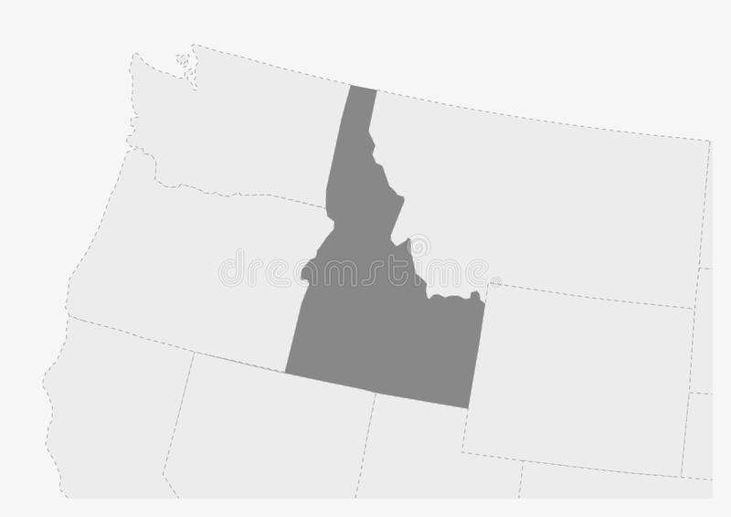 Map of USA with highlighted Idaho state map. Map of USA with highlighted Idaho map, gray map of US State Idaho with neighboring countries royalty free illustration