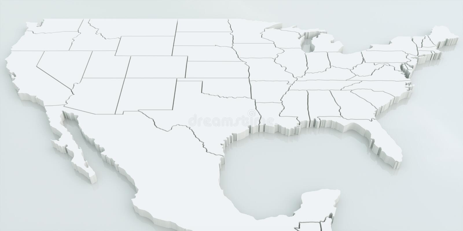 Map Of USA And Mexico Highly Detailed 3D Rendering Stock
