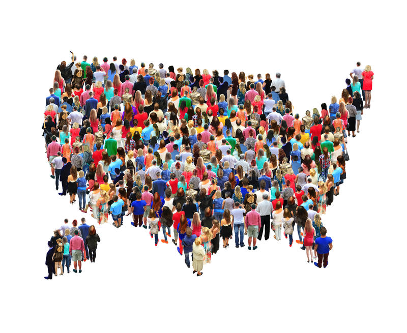 Map of USA with people isolated. Map of USA with crowd of different people isolated on the white