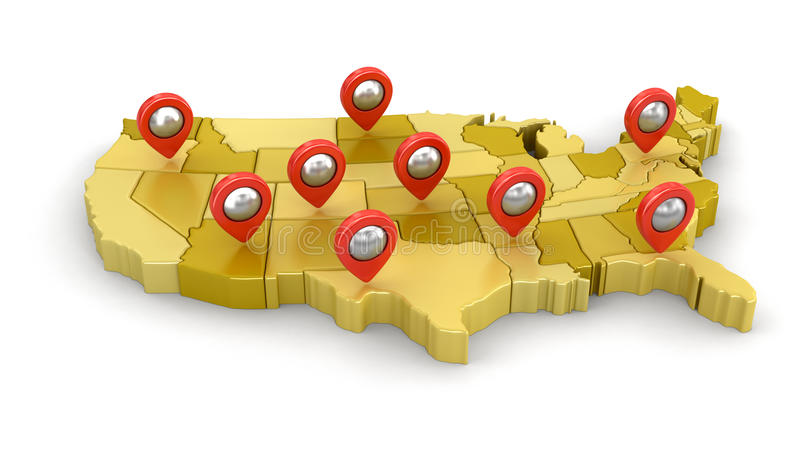 Map of USA with Pointers stock illustration