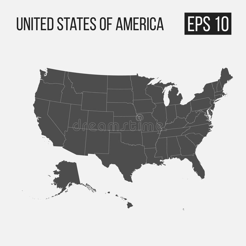 Map of USA with regions. EPS 10 stock illustration