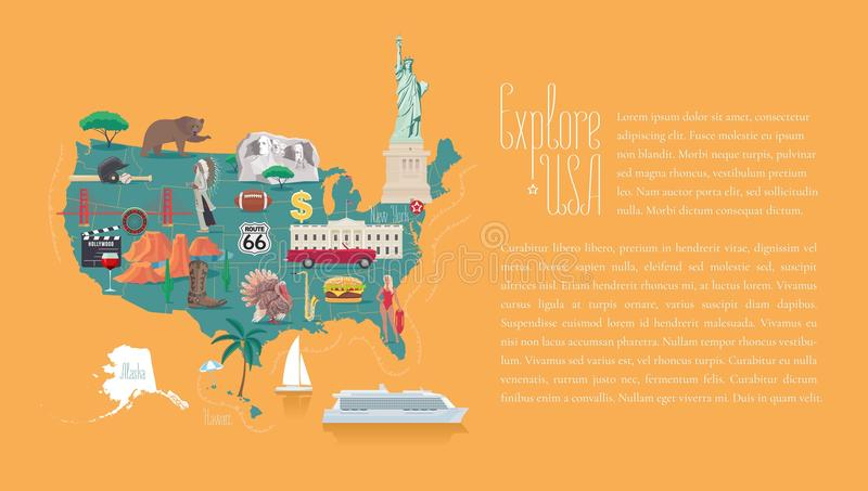 Map of USA vector illustration, design. Icons with American landmarks, statue of liberty, Rushmore, White house. Explore United States of America template stock illustration