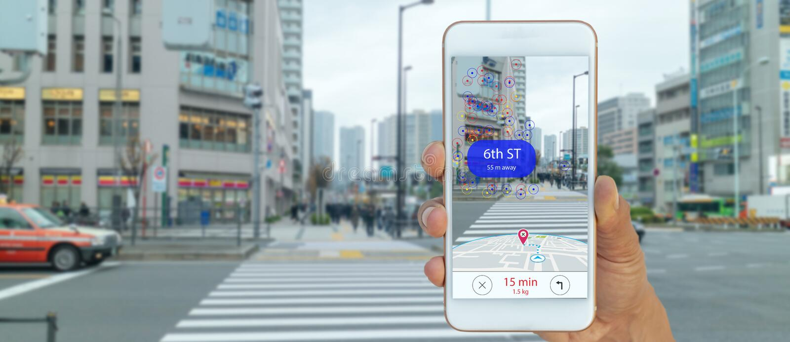 Map use ai, artificial intelligence algorithms to determine what individuals want to see When GPS location service are turned on a. Nd the Maps app is opened stock photo