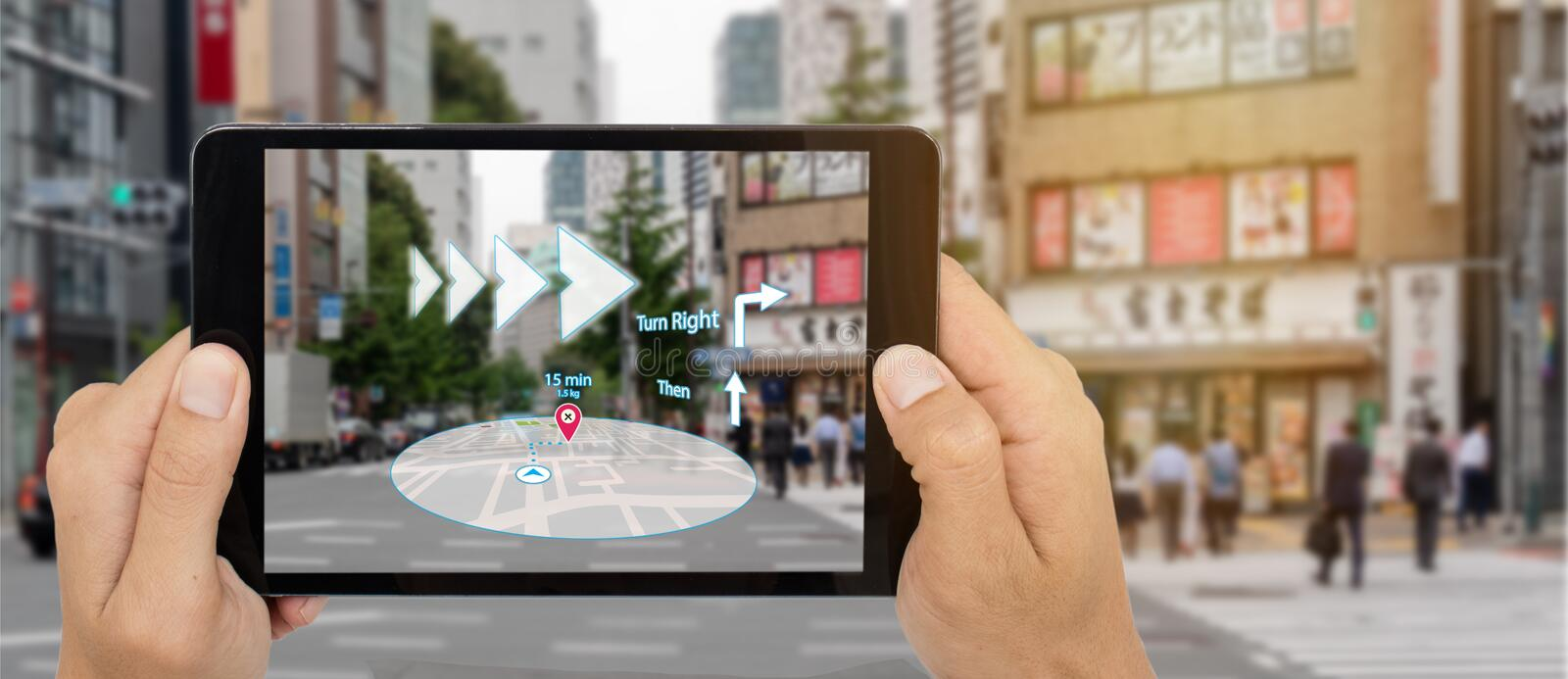 Map use ai, artificial intelligence algorithms to determine what individuals want to see When GPS location service are turned on a. Nd the Maps app is opened stock photos