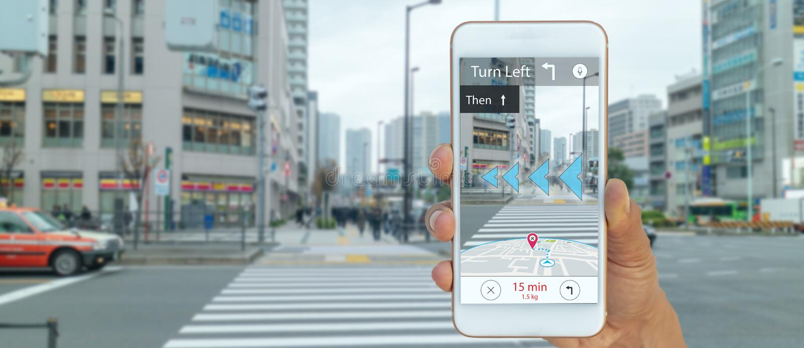 Map use ai, artificial intelligence algorithms to determine what individuals want to see When GPS location service are turned on a. Nd the Maps app is opened stock photography