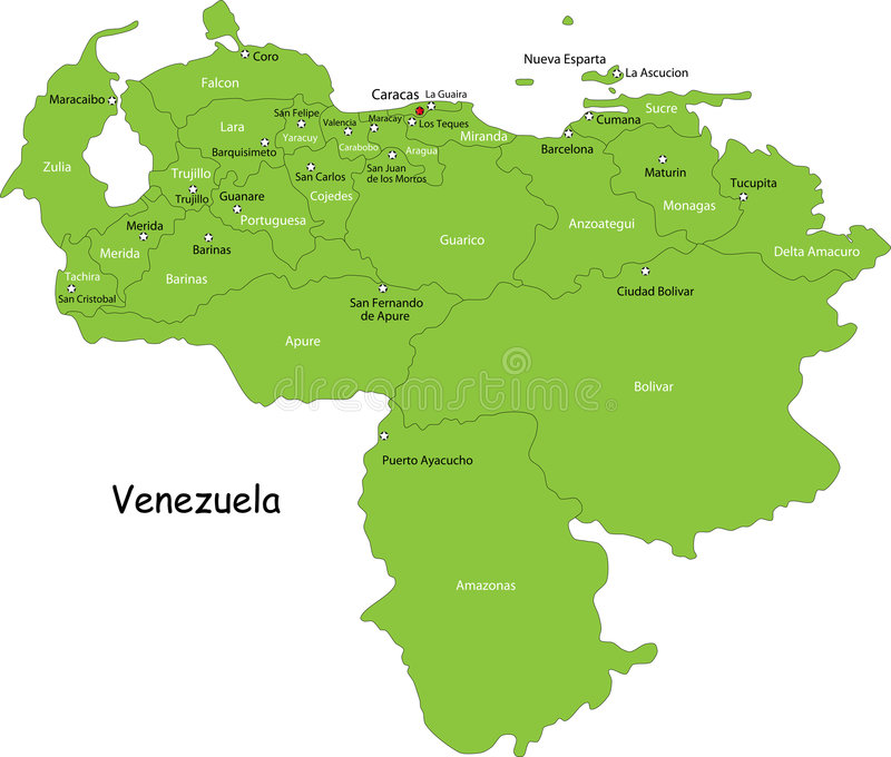 Map of Venezuela stock vector Illustration of nation 6997628