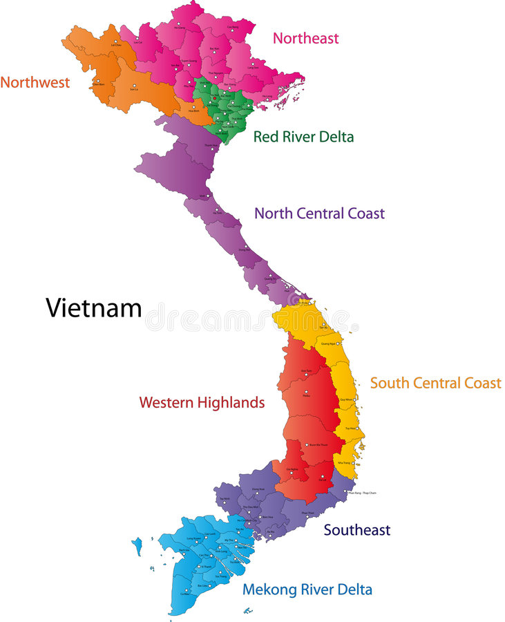Map of Vietnam. Vietnam map designed in illustration with the regions and provinces colored in bright colors and with the main cities. (Map is hight resolution