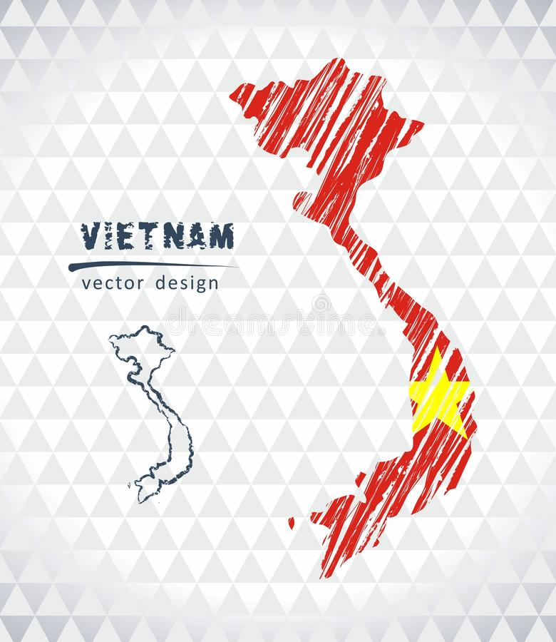 Map of Vietnam with hand drawn sketch pen map inside. Vector illustration stock illustration